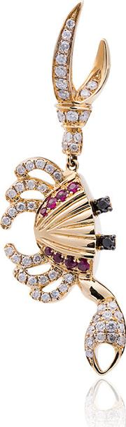 Yvonne Leon 18k Gold Crab Earring With Diamond And Ruby