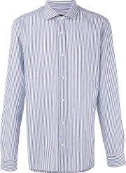 Striped Shirt Men Cottonlinenflax 44, Blue