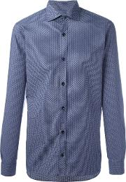 Tonal Print Shirt Men Cotton Xl, Blue
