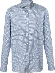 Z Zegna Patterned Shirt Men Cotton 42, Blue