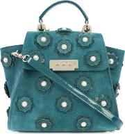 Floral Applique Backpack Women Patent Leathersuede