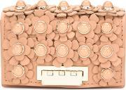 Flower Embellished Clutch Women Calf Leather One Size