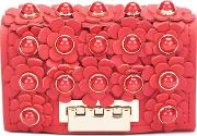 Flower Embellished Clutch Women Calf Leather One Size, Red