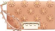 Large Flower Embellished Clutch Women Calf Leather One Size, Women's, Brown
