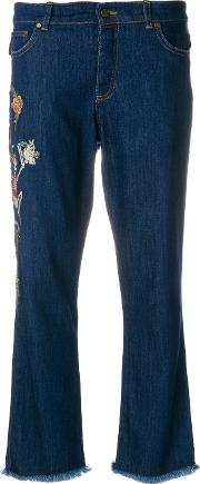 Embroidered Skeleton Cropped Jeans