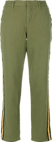 Zadig & Voltaire Side Stripe Cropped Trousers Women Cottonlinenflax 40, Green