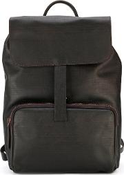 Hook Detail Backpack Men Leather One Size, Brown
