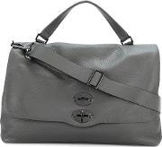 Postina Large Tote Men Leather One Size, Grey