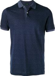 Floral Polo Shirt Men Cotton M, Blue