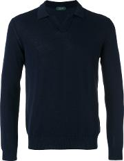 Longsleeved Polo Shirt Men Cotton 52, Blue