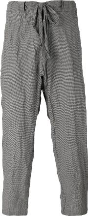 Checked Crinkled Trousers Men Cotton Xl, Grey