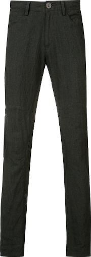 Creased Effect Trousers Men Cottonlinenflax 46, Black