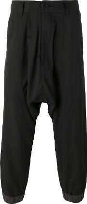 Drop Crotch Cropped Trousers Men Cottonlinenflaxviscose M, Black