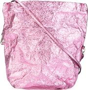 Foldover Shoulder Bag Women Leather One Size, Women's, Pinkpurple
