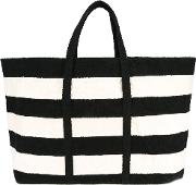 Striped Tote Women Cottonleather One Size, Black