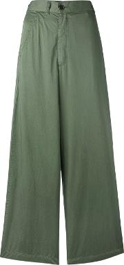 Flared Pants Women Cotton S, Green