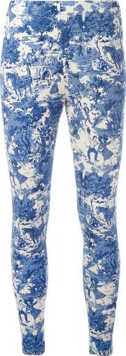 Printed Leggings Women Cotton M, Blue
