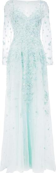 Floral Sequin Embroidery Gown Women Silkpolyamide 42, Blue