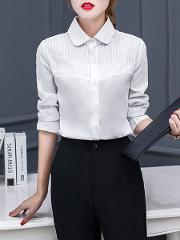 Autumn Spring Cotton Women Turn Down Collar Single Breasted Plain Long Sleeve Blouses