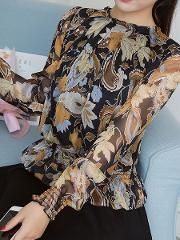 Autumn Spring Polyester Women Round Neck Flounce See Through Floral Printed Long Sleeve Blouses