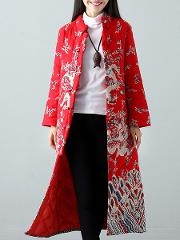 Band Collar Abstract Print Long Sleeve Coats