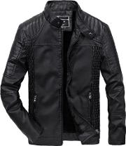 Band Collar Fleece Lined Quilted Pu Leather Plain Men Jacket