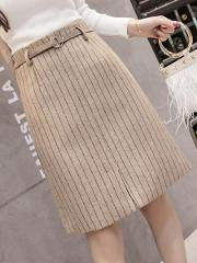 Casual Style Belt Striped A Line Above Knee Skirts