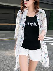 Fancy Collarless See Through Printed Kimono