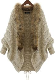 Faux Fur Collar Lace Up Batwing Sleeve Cardigan
