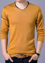 Fitted V Neck Printed Men Sweater