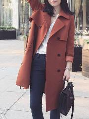 Fold Over Collar Double Breasted Belt Plain Long Sleeve Coats