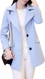 Fold Over Collar Flap Pocket Single Breasted Plain Long Sleeve Coats