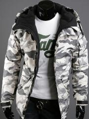 Hooded Camouflage Flap Pocket Men Coat