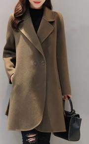 Loose Lapel Pocket Woolen Plain Coat