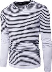 Men Striped Round Neck Fake Two Piece T Shirt