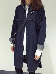 Patchwork Plain Long Sleeve Trench Coats