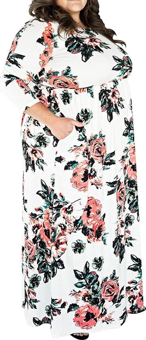 a51b7ea0c79 Round Neck Printed Plus Size Midi Maxi Dresses. Follow fashionmia