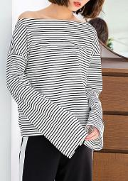 Round Neck Striped Long Sleeve T Shirts