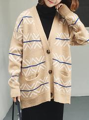 Single Breasted Striped Long Sleeve Cardigans