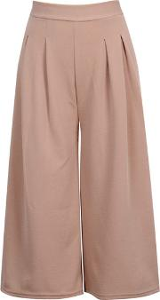 Solid Cropped Wide Leg Casual Pants