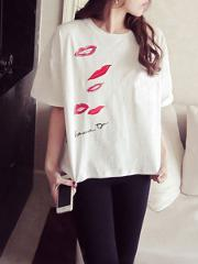 Spring Summer Polyester Women Round Neck Printed Short Sleeve T Shirts