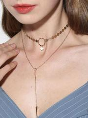 Two Pieces Metal Necklaces For Women