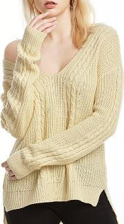 V Neck Embossed Long Sleeve Sweaters Pullover