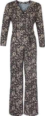 V Neck Paisley Printed Wide Leg Jumpsuit