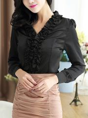V Neck Ruffle Trim Plain Blouse