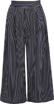 Vertical Striped Cropped Wide Leg Casual Pants
