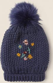 Flower Embroidered Beanie