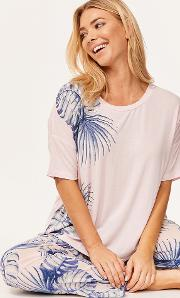 Isla T Shirt & Palm Leaf Print Long Trouser Set