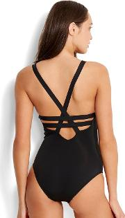Black Active Deep V Maillot
