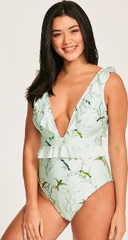 Fortune Tropical Deep V Ruffle Swimsuit